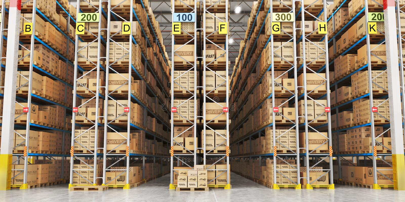 Σύγχρονο σύνολο αποθηκών εμπορευμάτων των κουτιών από χαρτόνι τρισδιάστατος απεικόνιση αποθεμάτων