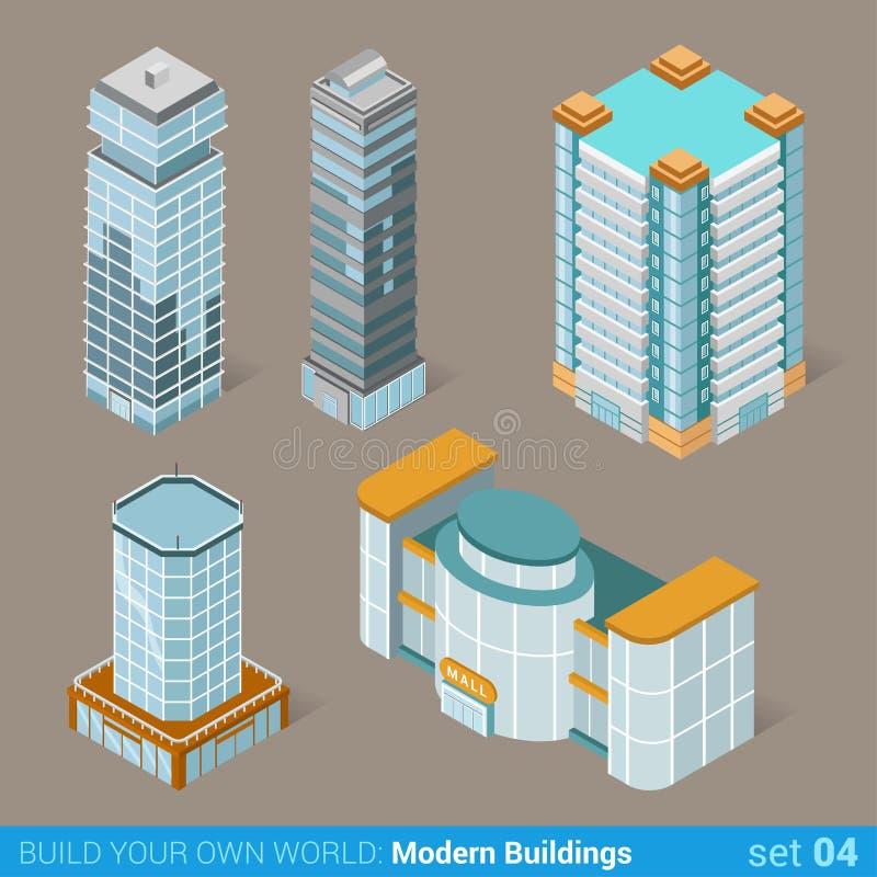 Σύγχρονο σύνολο εικονιδίων αρχιτεκτονικής επιχειρησιακών κτηρίων ελεύθερη απεικόνιση δικαιώματος
