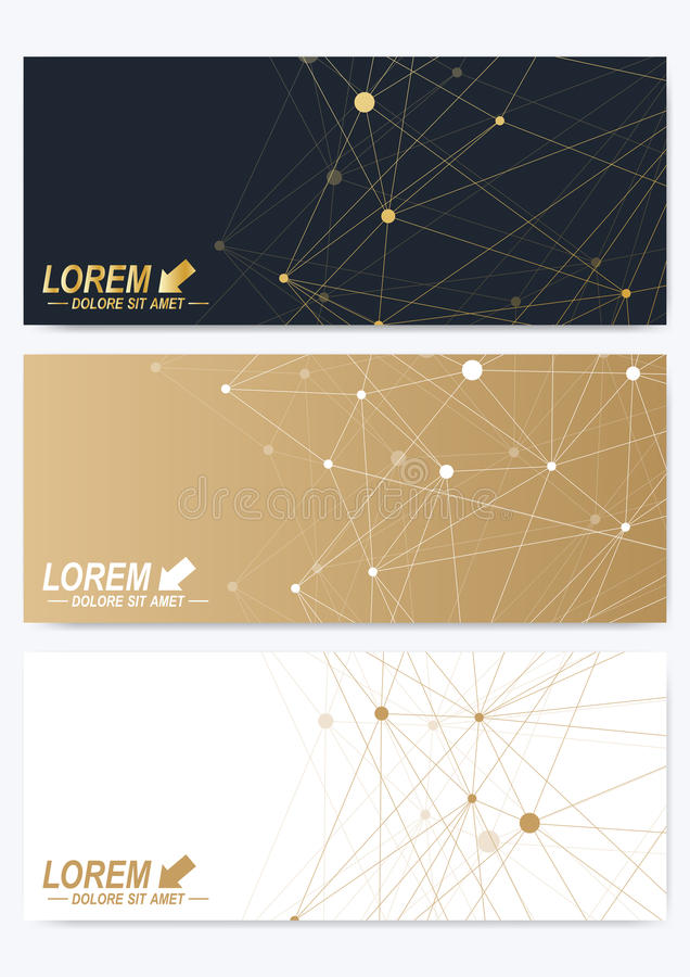 Σύγχρονο σύνολο οριζόντιων καρτών Γεωμετρική χρυσή παρουσίαση Πρότυπο για το έμβλημα, επαγγελματική κάρτα, ευχετήρια κάρτα γραμμέ διανυσματική απεικόνιση