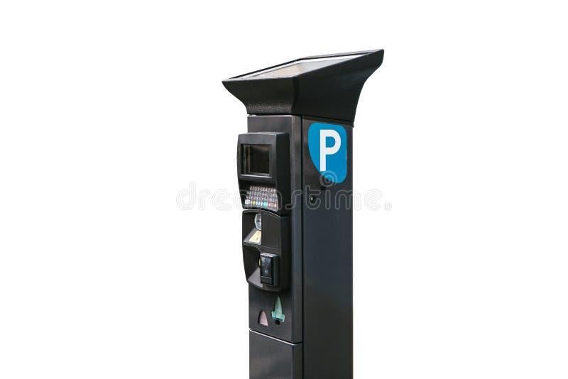 Σύγχρονο τερματικό με το ηλιακό πλαίσιο για να πληρώσει για το χώρο στάθμευσης αυτοκινήτων απομονωμένος στο άσπρο υπόβαθρο Σύγχρο στοκ φωτογραφία με δικαίωμα ελεύθερης χρήσης