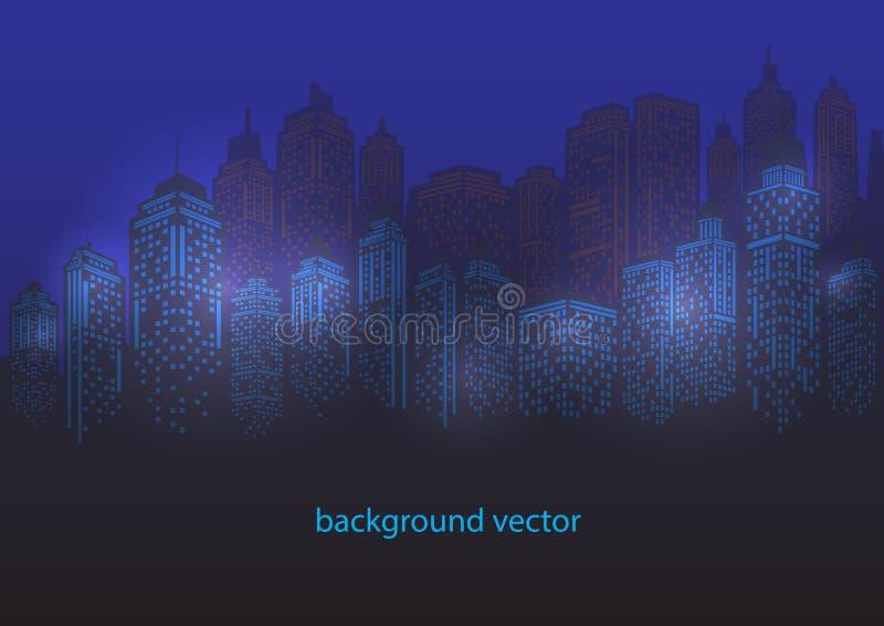 Σύγχρονο τοπίο πόλεων πόλεων νύχτας Πρωινός ορίζοντας πόλεων ελεύθερη απεικόνιση δικαιώματος
