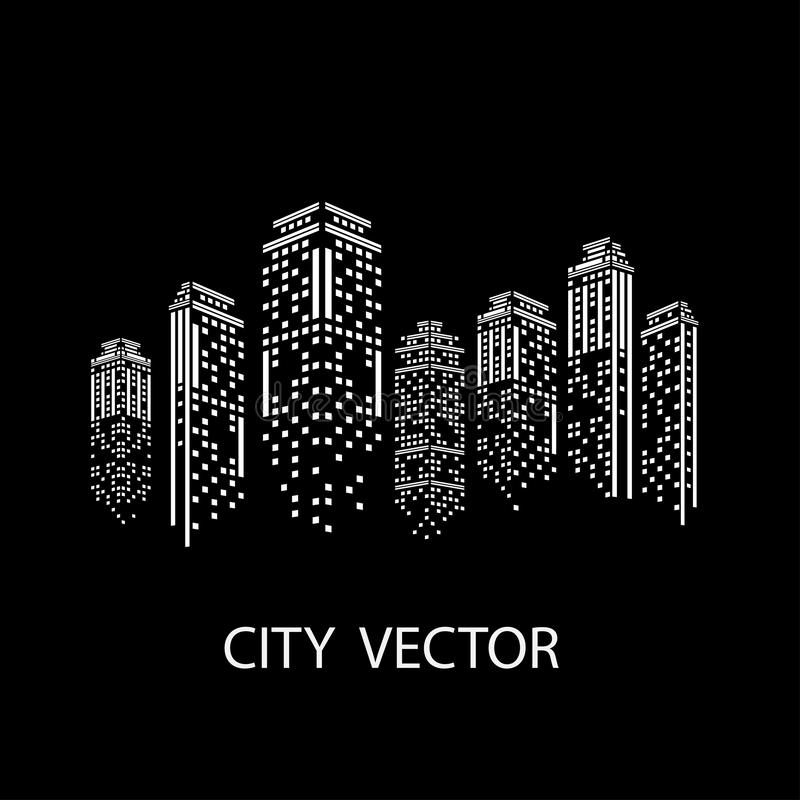 Σύγχρονο τοπίο πόλεων πόλεων νύχτας Πρωινός ορίζοντας πόλεων διανυσματική απεικόνιση