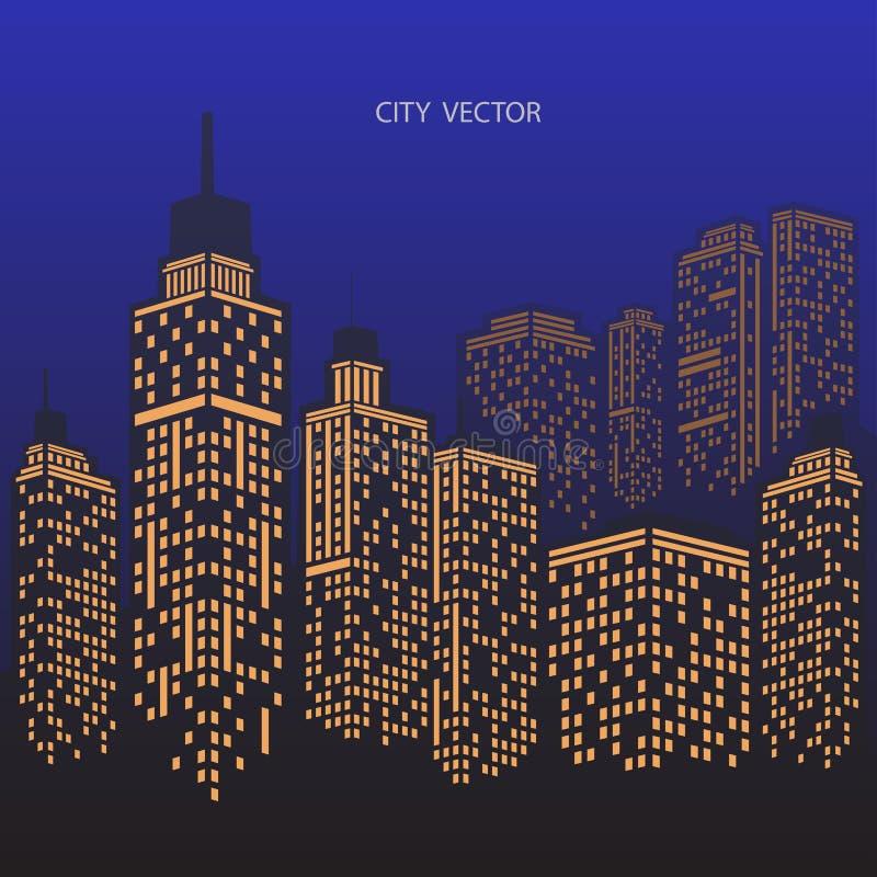 Σύγχρονο τοπίο πόλεων πόλεων νύχτας Πρωινός ορίζοντας πόλεων απεικόνιση αποθεμάτων