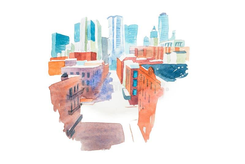 Σύγχρονο τοπίο πόλεων ακουαρελών με την απεικόνιση watercolor σπιτιών και κτηρίων διανυσματική απεικόνιση