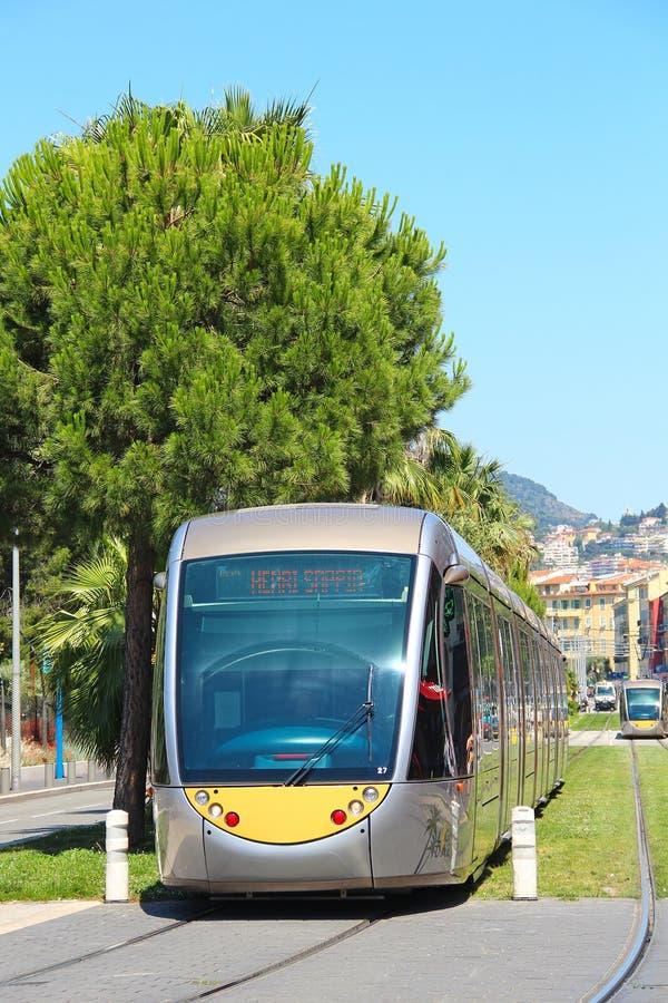 Σύγχρονο τραμ στη Νίκαια, Γαλλία στοκ εικόνες με δικαίωμα ελεύθερης χρήσης