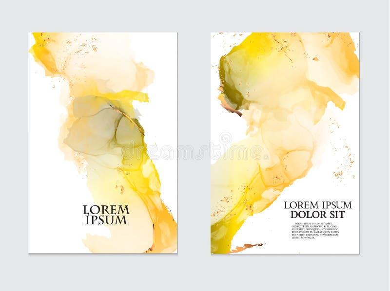 Σύγχρονο υγρό έργο τέχνης ροής Μαρμάρινη ζωγραφική επίδρασης watercolor Μικτά κίτρινα και πορτοκαλιά γκρίζα χρώματα για τις ταπετ ελεύθερη απεικόνιση δικαιώματος