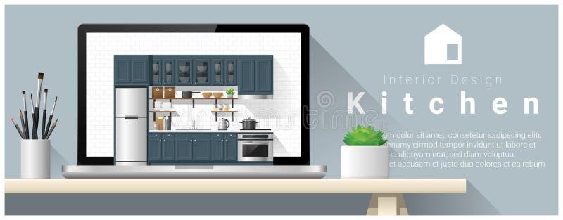 Σύγχρονο υπόβαθρο σχεδίου κουζινών εσωτερικό ελεύθερη απεικόνιση δικαιώματος