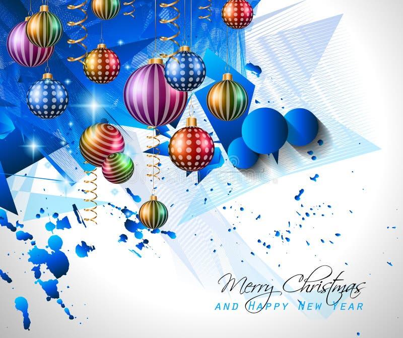 Σύγχρονο υπόβαθρο Χριστουγέννων με τις σφαίρες και τα φω'τα αστεριών ελεύθερη απεικόνιση δικαιώματος