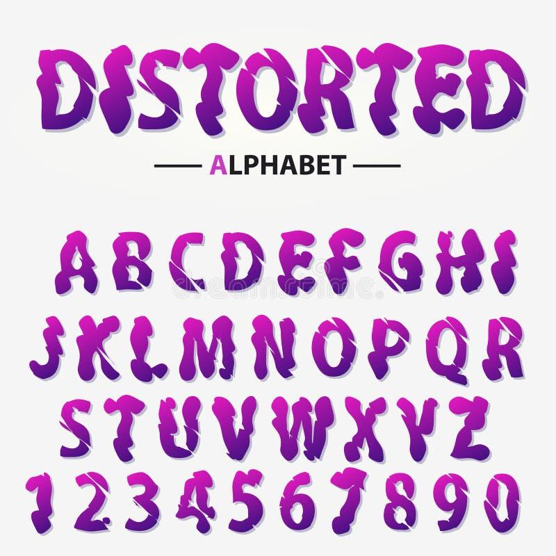 Σύγχρονο φουτουριστικό αλφάβητο, διαστρεβλωμένοι επιστολές και αριθμοί, αφηρημένη τυπογραφία πηγών διάνυσμα απεικόνιση αποθεμάτων