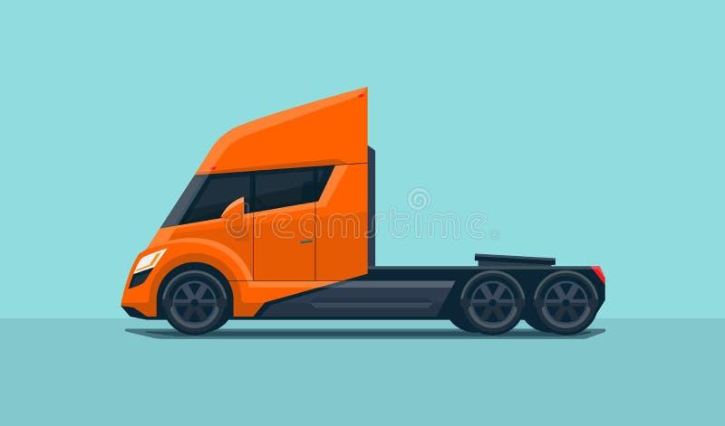 Σύγχρονο φουτουριστικό απομονωμένο ημι φορτηγό ελεύθερη απεικόνιση δικαιώματος