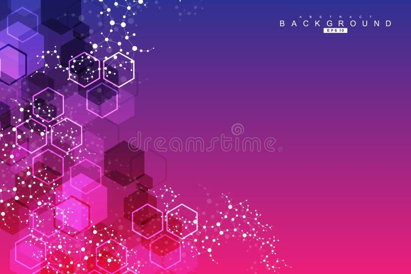 Σύγχρονο φουτουριστικό υπόβαθρο του επιστημονικού εξαγωνικού σχεδίου Εικονικό αφηρημένο υπόβαθρο με το μόριο, μόριο ελεύθερη απεικόνιση δικαιώματος