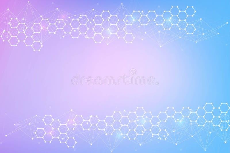 Σύγχρονο φουτουριστικό υπόβαθρο του επιστημονικού εξαγωνικού σχεδίου Εικονικό αφηρημένο υπόβαθρο με το μόριο, μόριο διανυσματική απεικόνιση