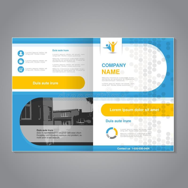 Σύγχρονο φυλλάδιο, αφηρημένο ιπτάμενο, απλό διαστιγμένο σχέδιο με το υπόβαθρο των μονοχρωματικών κτηρίων Πρότυπο σχεδιαγράμματος  ελεύθερη απεικόνιση δικαιώματος
