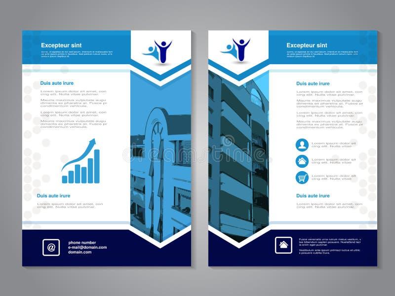 Σύγχρονο φυλλάδιο, αφηρημένο ιπτάμενο με το υπόβαθρο των κτηρίων Πρότυπο σχεδιαγράμματος Λόγος διάστασης για A4 το μέγεθος Αφίσα  διανυσματική απεικόνιση