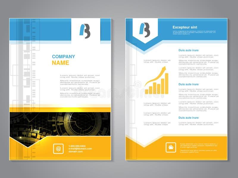 Σύγχρονο φυλλάδιο με το μπλε κίτρινο σχέδιο, αφηρημένο ιπτάμενο με το υπόβαθρο τεχνολογίας Πρότυπο σχεδιαγράμματος Αφίσα με το σχ απεικόνιση αποθεμάτων