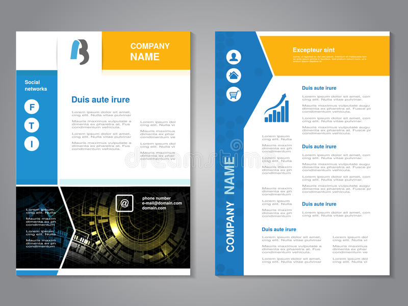Σύγχρονο φυλλάδιο με το μπλε κίτρινο σχέδιο, αφηρημένο ιπτάμενο με το υπόβαθρο τεχνολογίας Πρότυπο σχεδιαγράμματος Αφίσα με το de ελεύθερη απεικόνιση δικαιώματος
