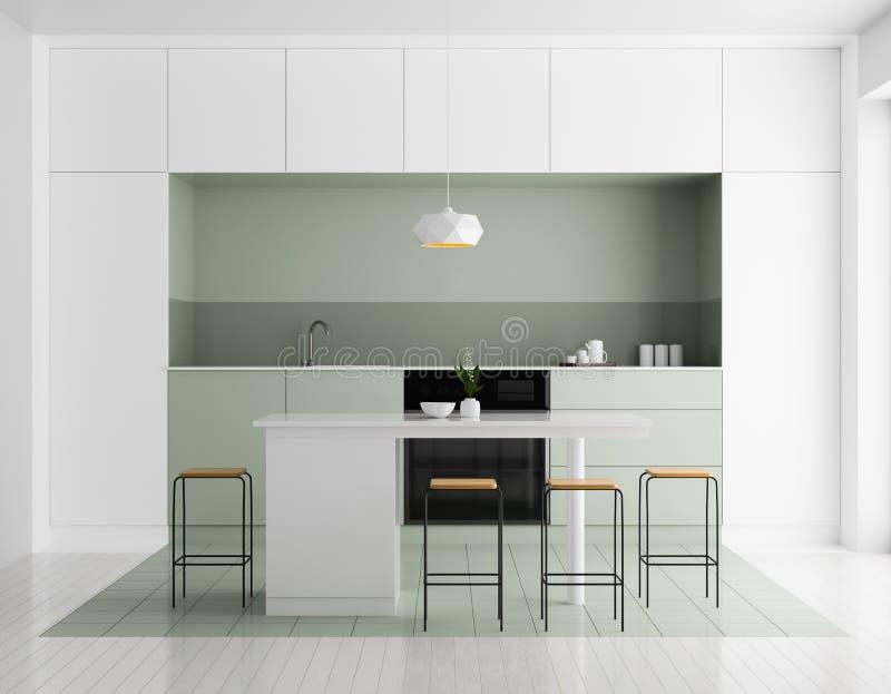 Σύγχρονο φωτεινό εσωτερικό κουζινών Σχέδιο κουζινών Minimalistic με το φραγμό και τα σκαμνιά τρισδιάστατη απεικόνιση στοκ εικόνες
