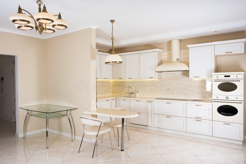 Σύγχρονο, φωτεινό, καθαρό εσωτερικό κουζινών σε ένα σπίτι πολυτέλειας Εσωτερικό σχέδιο με τα κλασικά ή εκλεκτής ποιότητας στοιχεί στοκ εικόνες