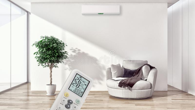 Σύγχρονο φωτεινό καθιστικό διαμερισμάτων εσωτερικού με τον όρο αέρα στοκ φωτογραφίες με δικαίωμα ελεύθερης χρήσης
