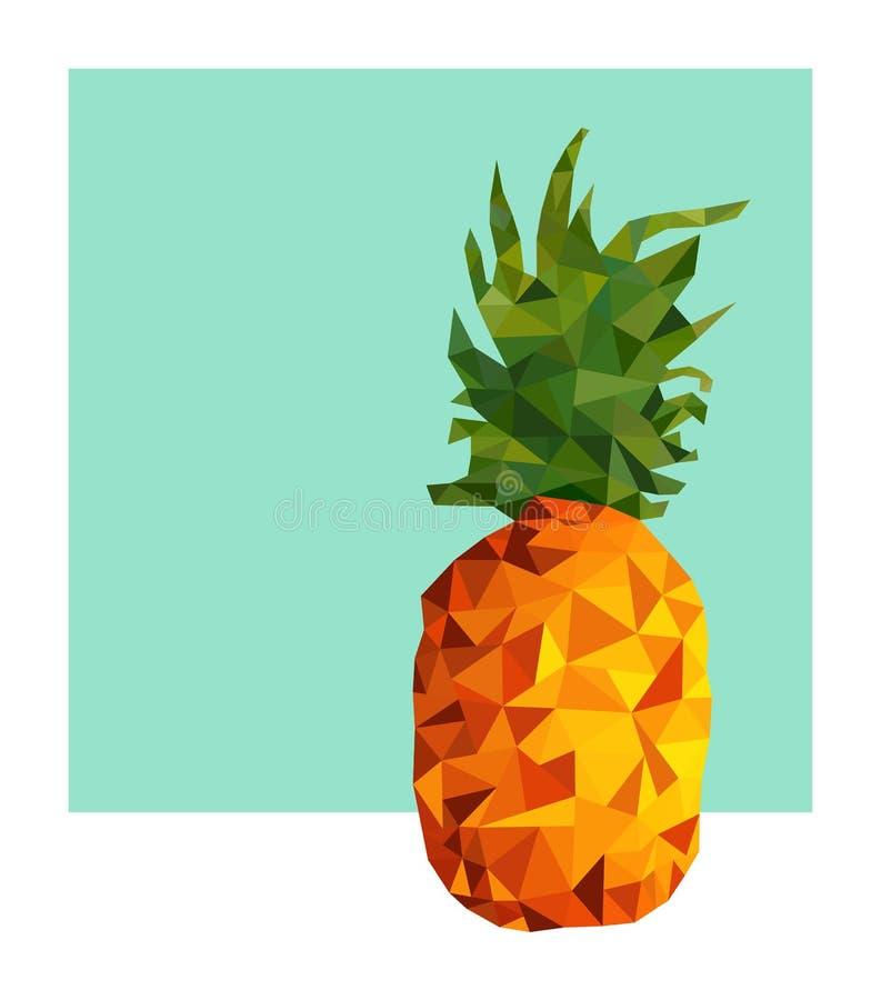 Σύγχρονο χαμηλό πολυ σχέδιο φρούτων ανανά για το καλοκαίρι ελεύθερη απεικόνιση δικαιώματος