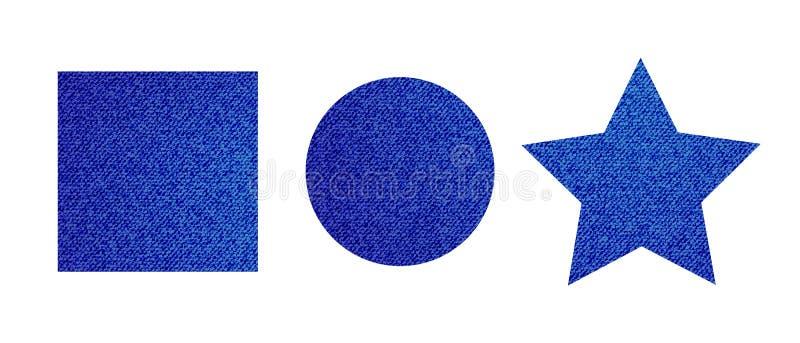 Σύγχρονο χαριτωμένο μπάλωμα τζιν που τίθεται στο απομονωμένο άσπρο υπόβαθρο απεικόνιση αποθεμάτων