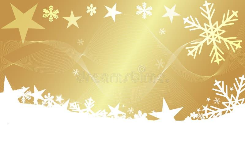 Σύγχρονο χειμερινό υπόβαθρο Χριστουγέννων με το χρυσό αστεριών και snowflakes ελεύθερη απεικόνιση δικαιώματος