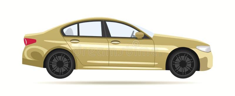 Σύγχρονο χρυσό αυτοκίνητο πολυτέλειας ελεύθερη απεικόνιση δικαιώματος