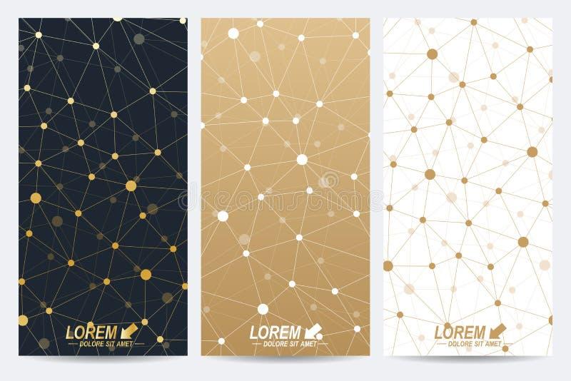 Σύγχρονο χρυσό σύνολο διανυσματικών ιπτάμενων Σύγχρονο μοντέρνο polygonal σχέδιο με τη συνδεδεμένα γραμμή και τα σημεία Μόριο και διανυσματική απεικόνιση