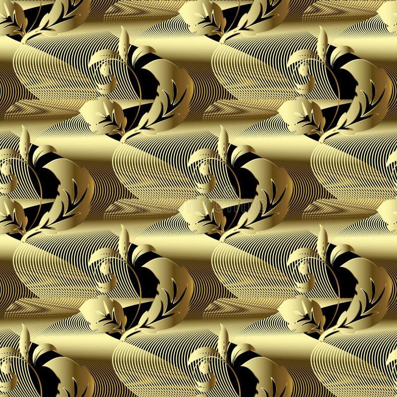 Σύγχρονο χρυσό τρισδιάστατο μπαρόκ διανυσματικό άνευ ραφής σχέδιο Περίληψη geometr ελεύθερη απεικόνιση δικαιώματος