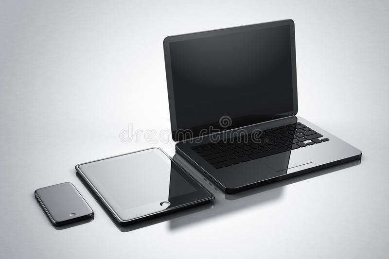 Σύγχρονο ψηφιακό σημειωματάριο ταμπλετών smartphone συσκευών ελεύθερη απεικόνιση δικαιώματος