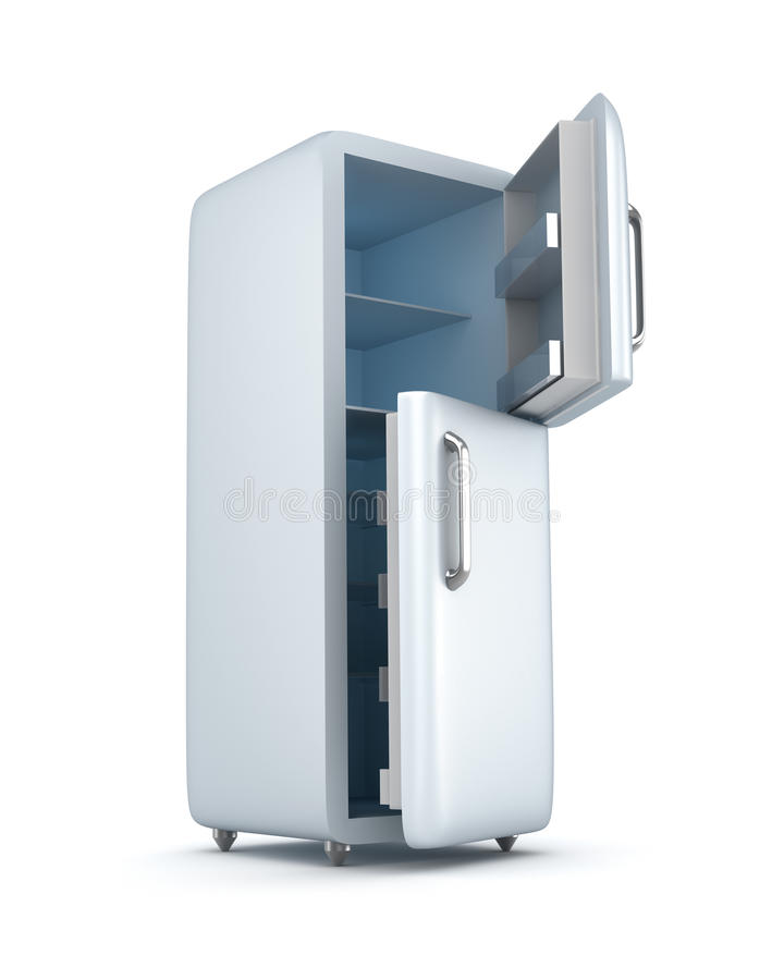 Σύγχρονο ψυγείο με τις ανοιγμένες πόρτες. στο λευκό απεικόνιση αποθεμάτων