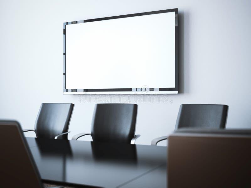 Σύγχρονο δωμάτιο γραφείων με την οθόνη TV τρισδιάστατη απόδοση ελεύθερη απεικόνιση δικαιώματος