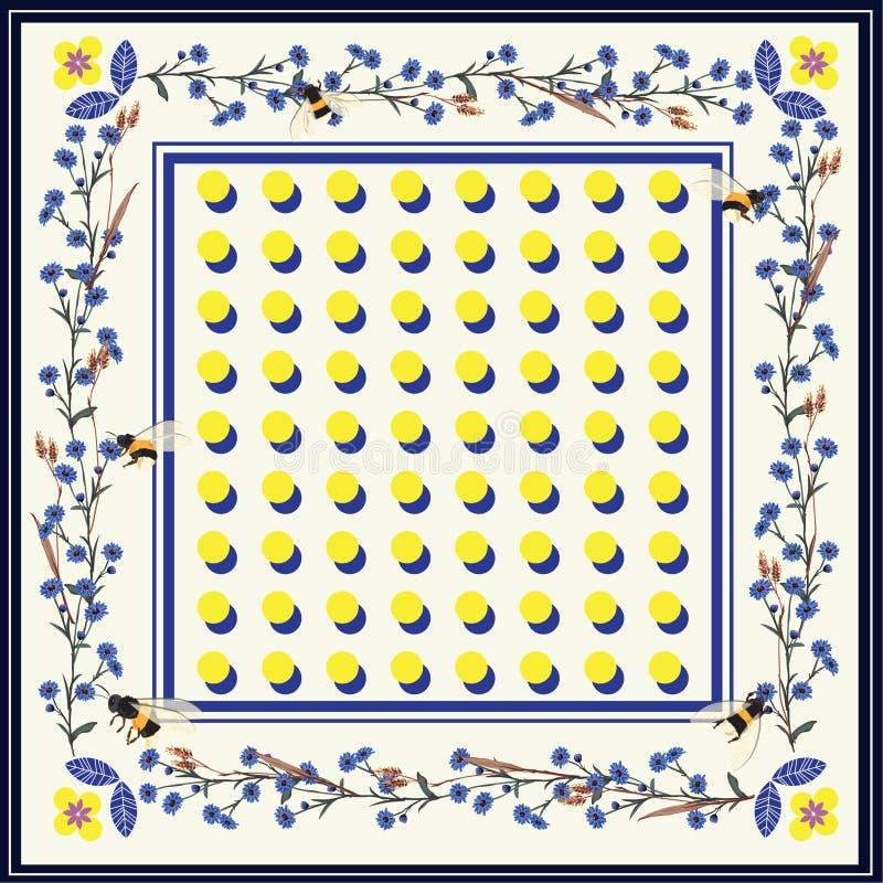 Σύγχρονο όμορφο σάλι, τυπωμένη ύλη μαντίλι φωτεινά σημεία Πόλκα με Flowe ελεύθερη απεικόνιση δικαιώματος
