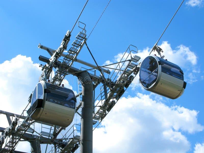 Σύγχρονο cableway: μηχανισμός κυλίνδρων και καμπίνες, κινηματογράφηση σε πρώτο πλάνο στοκ εικόνα με δικαίωμα ελεύθερης χρήσης