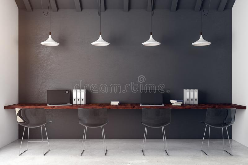 Σύγχρονο coworking εσωτερικό γραφείων απεικόνιση αποθεμάτων