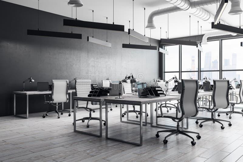 Σύγχρονο coworking εσωτερικό γραφείων ελεύθερη απεικόνιση δικαιώματος