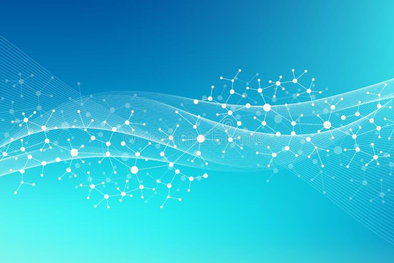 Σύγχρονο DNA μορίων δομών Άτομο Υπόβαθρο μορίων και επικοινωνίας για την ιατρική, επιστήμη, τεχνολογία, χημεία ελεύθερη απεικόνιση δικαιώματος