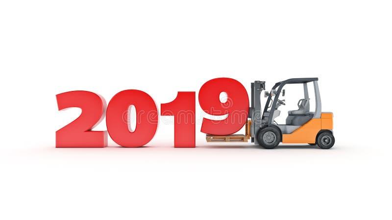 Σύγχρονο forklift φορτηγό, σημάδι έτους του 2019 νέο τρισδιάστατη απόδοση απεικόνιση αποθεμάτων