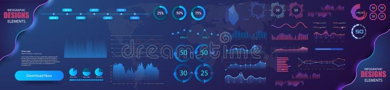 Σύγχρονο σύγχρονο infographic διανυσματικό πρότυπο με τις γραφικές παραστάσεις στατιστικών και τα διαγράμματα χρηματοδότησης Πρότ ελεύθερη απεικόνιση δικαιώματος