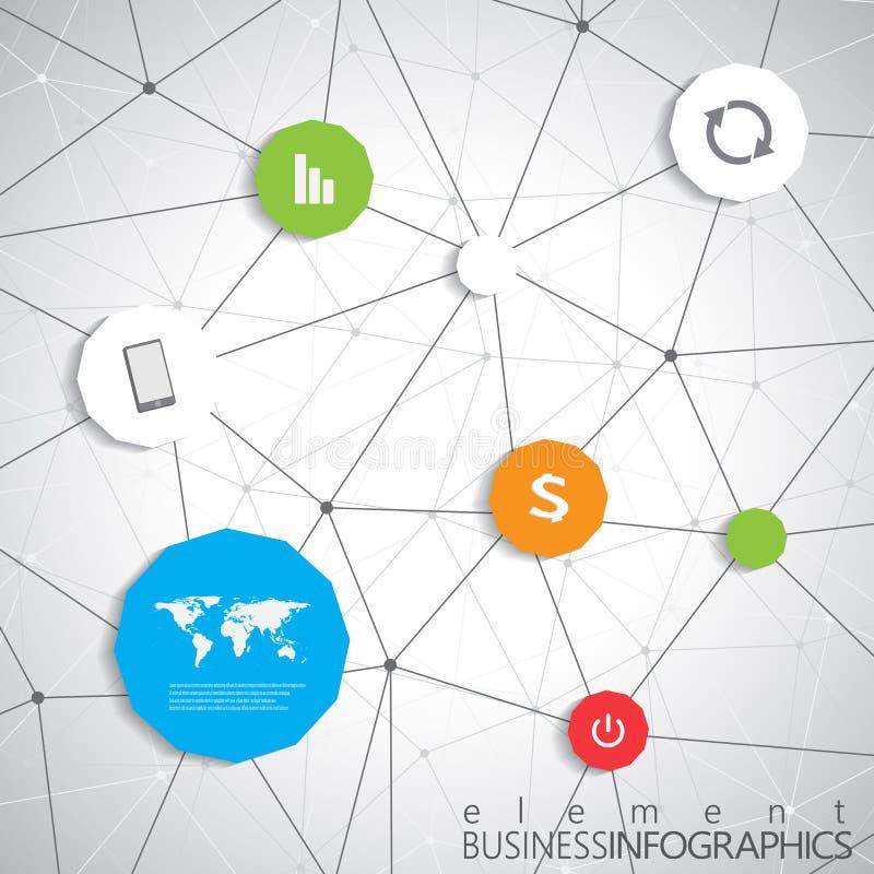 Σύγχρονο infographic πρότυπο δικτύων με τη θέση για το κείμενό σας Μπορέστε να χρησιμοποιηθείτε για το σχεδιάγραμμα ροής της δουλ ελεύθερη απεικόνιση δικαιώματος