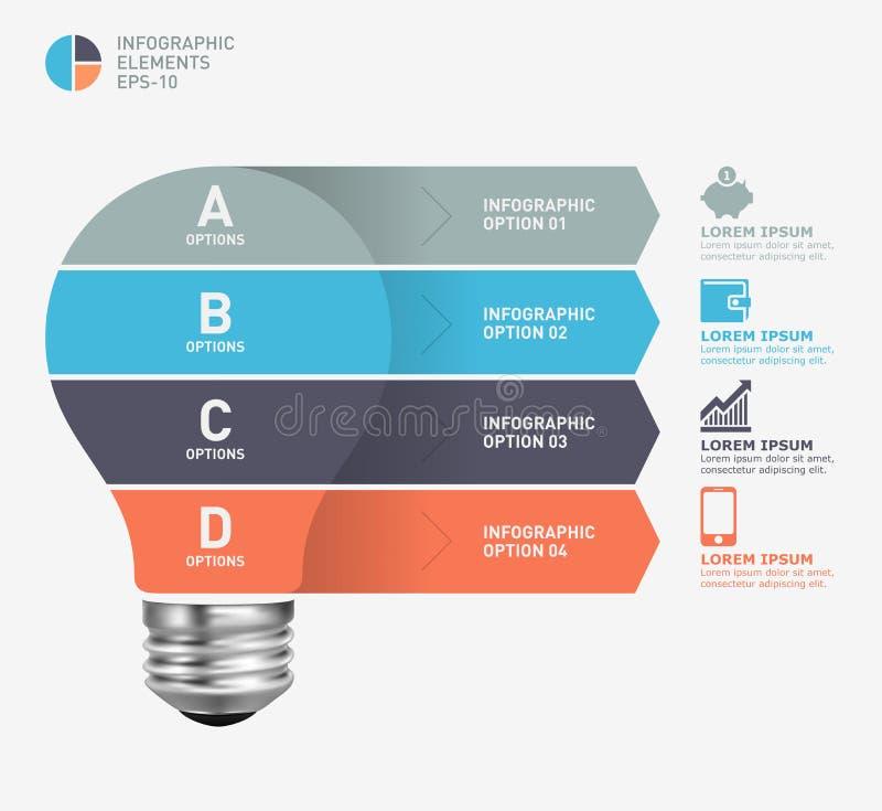 Σύγχρονο infographic πρότυπο με το σχέδιο εικονιδίων λαμπών φωτός διανυσματική απεικόνιση