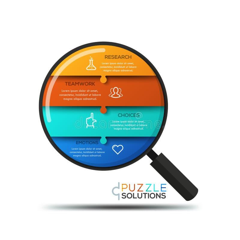Σύγχρονο infographic πρότυπο σχεδίου, γρίφος τορνευτικών πριονιών στη μορφή πιό magnifier απεικόνιση αποθεμάτων