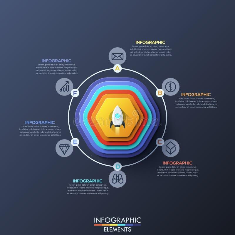 Σύγχρονο infographic πρότυπο σχεδίου με 6 κυκλικά στοιχεία διανυσματική απεικόνιση