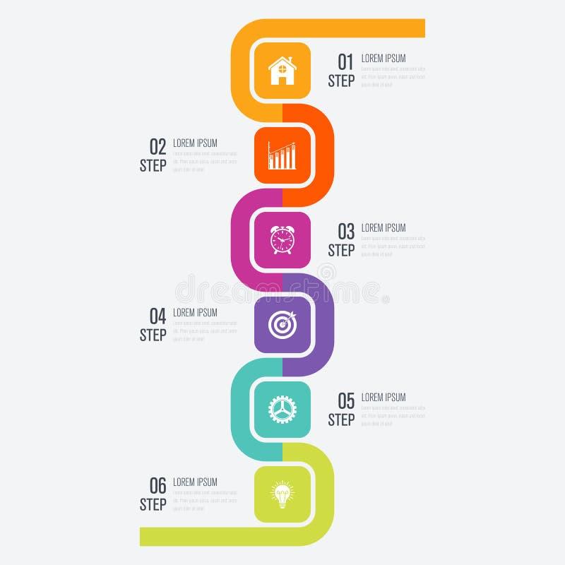 Σύγχρονο infographics έξι τετραγωνικό πρότυπο διαδικασίας διανυσματική απεικόνιση