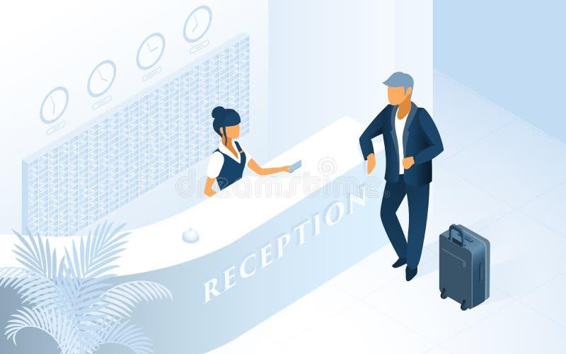 Σύγχρονο Isometric διάνυσμα υπηρεσιών υποδοχής ξενοδοχείων απεικόνιση αποθεμάτων