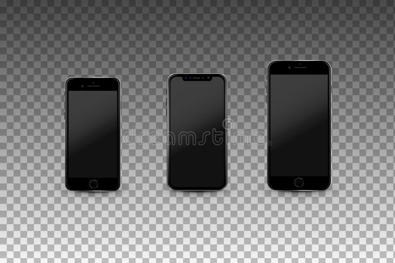 Σύγχρονο Smartphones με τις κενές οθόνες Υψηλός - ποιοτικό ρεαλιστικό διανυσματικό πρότυπο διανυσματική απεικόνιση