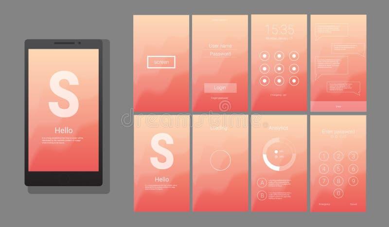 Σύγχρονο UI, διανυσματικό σχέδιο οθόνης GUI απεικόνιση αποθεμάτων