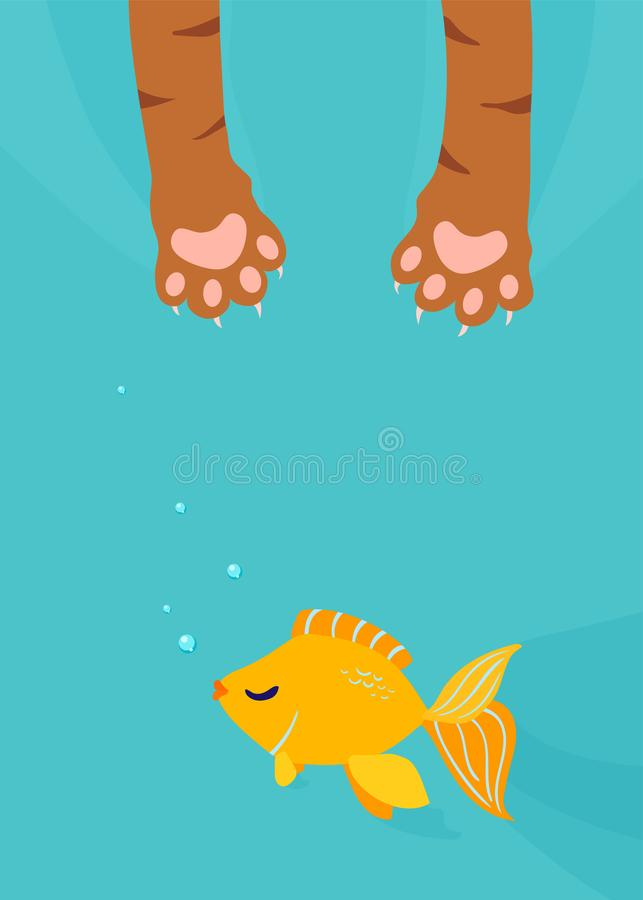 Σύλληψη ποδιών γατών, χρυσά ψάρια αλιείας κάτω από το κάθετο υπόβαθρο νερού Διανυσματική απεικόνιση κινούμενων σχεδίων διασκέδαση ελεύθερη απεικόνιση δικαιώματος