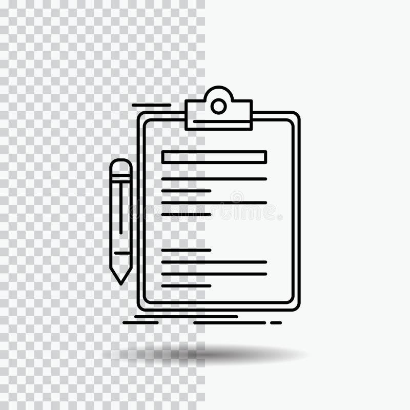 Σύμβαση, έλεγχος, επιχείρηση, που γίνεται, εικονίδιο γραμμών πινάκων συνδετήρων στο διαφανές υπόβαθρο Μαύρη διανυσματική απεικόνι διανυσματική απεικόνιση