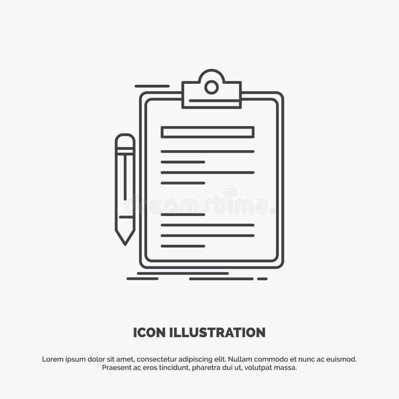 Σύμβαση, έλεγχος, επιχείρηση, που γίνεται, εικονίδιο πινάκων συνδετήρων Διανυσματικό γκρίζο σύμβολο γραμμών για UI και UX, τον ισ ελεύθερη απεικόνιση δικαιώματος
